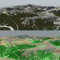 Side-by-side comparison of a terrain when viewed in VBS3 and when viewed in MaterialMAP 1.2 with surface material classification