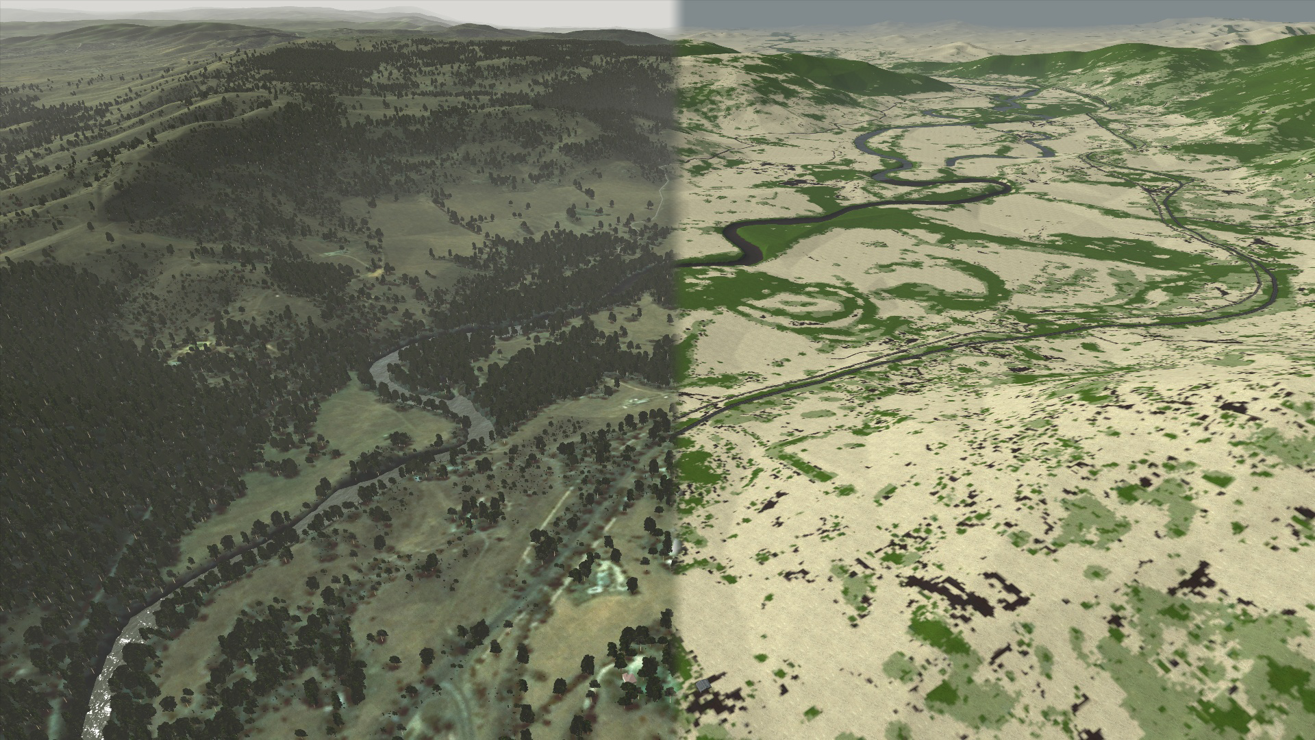 Biotope Scatter in VBS3 (left) using a classified surface map output from MaterialMAP (right)