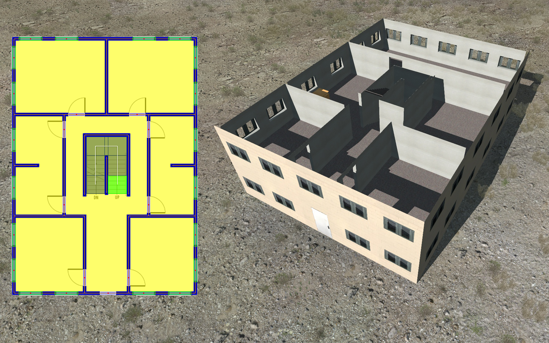 Vectors created in Building Designer side-by-side with the resulting model in VBS3